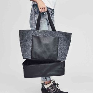 DSW Bags - DSW Gray Felt with Black Trim Large Tote + Samples